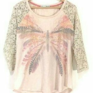 MAURICES graphic feather butterfly lace sleeve 3X